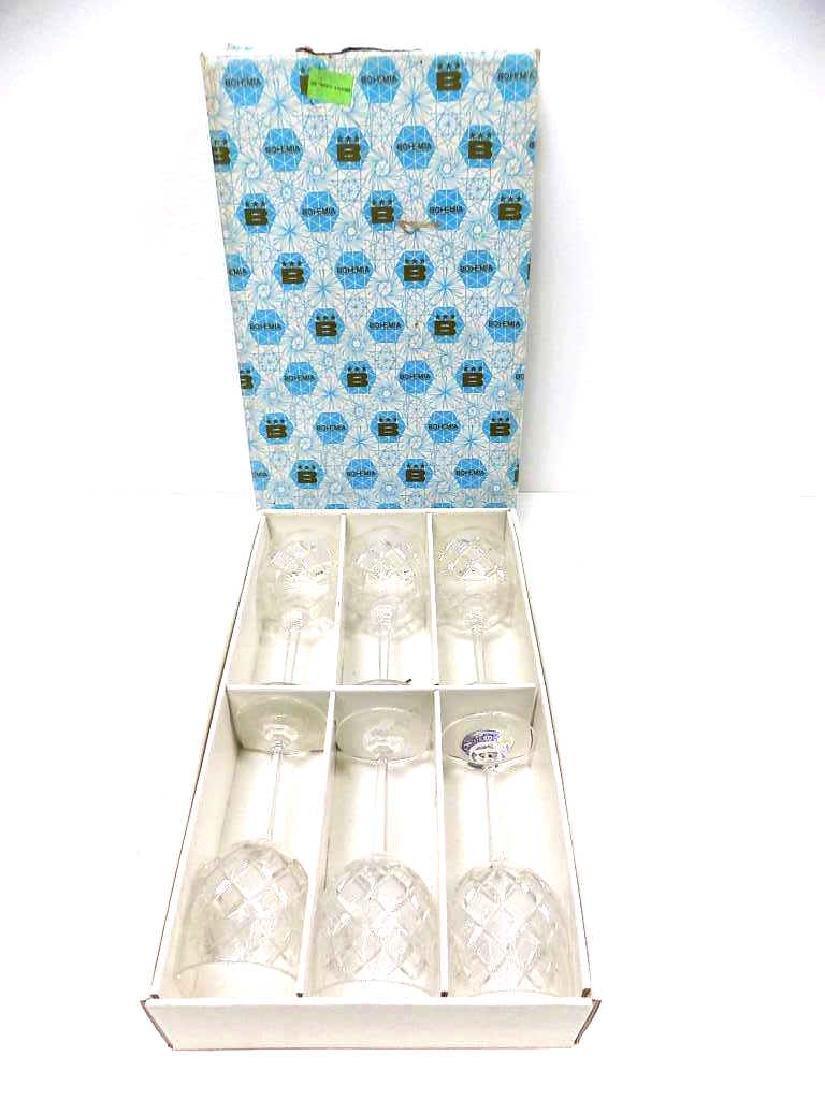 FINE BOHEMIA ETCHED CRYSTAL WINE GLASS SET