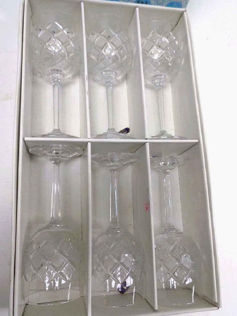 FINE BOHEMIA ETCHED CRYSTAL WINE GLASS SET - 2
