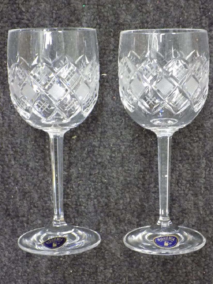 FINE BOHEMIA ETCHED CRYSTAL WINE GLASS SET - 3
