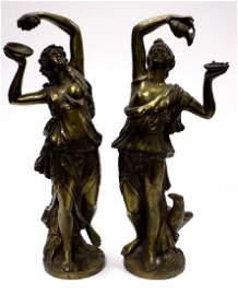 CLASSICAL GILT BRONZED GODDESSES OF WEALTH STATUES