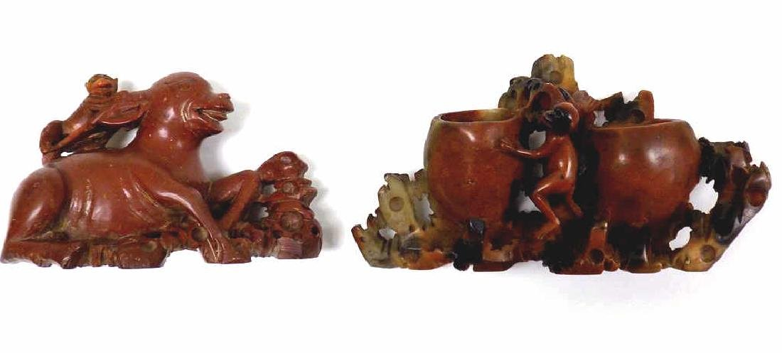 2 CHINESE CARVED SOAPSTONE SCULPTURES