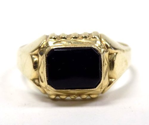 14K YELLOW GOLD & ONYX ART DECO DRESS RING
