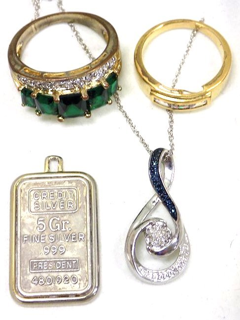 STERLING SILVER NECKLACE BAR PENDANT & RING LOT