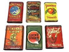 GROUP OF 6 ANTIQUE TOBACCO ADVERTISING TIN BOXES