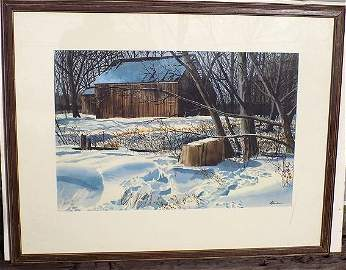OGDEN M. PLEISSNER FIRST SNOW WATERCOLOR PAINTING