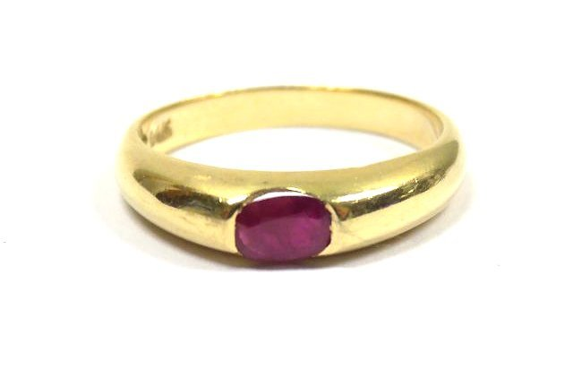 SOLID 14K YELLOW GOLD & BRILLIANT CUT RUBY RING