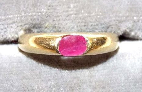 SOLID 14K YELLOW GOLD & BRILLIANT CUT RUBY RING - 3