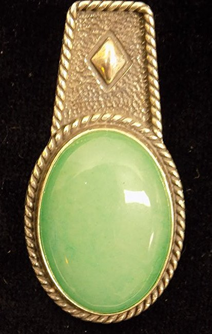 STERLING SILVER JADE NECKLACE PENDANT