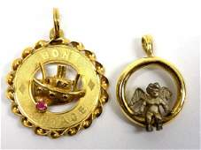 TWO 14K YELLOW GOLD NECKLACE PENDANTS
