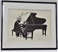 MODERN ART  PIANO PLAYER ARTIST PROOF LITHOGRAPH