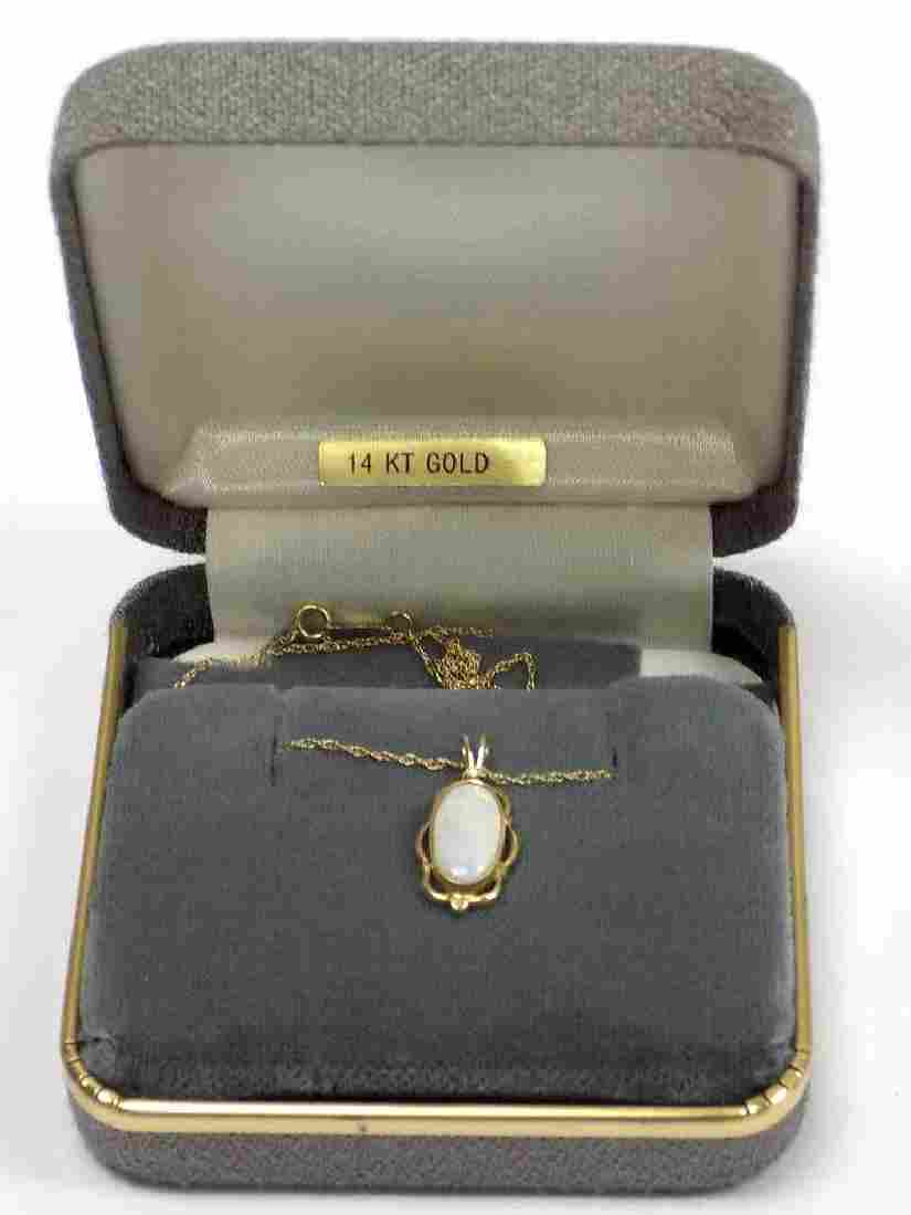 14K YELLOW GOLD FIRE OPAL NECKLACE