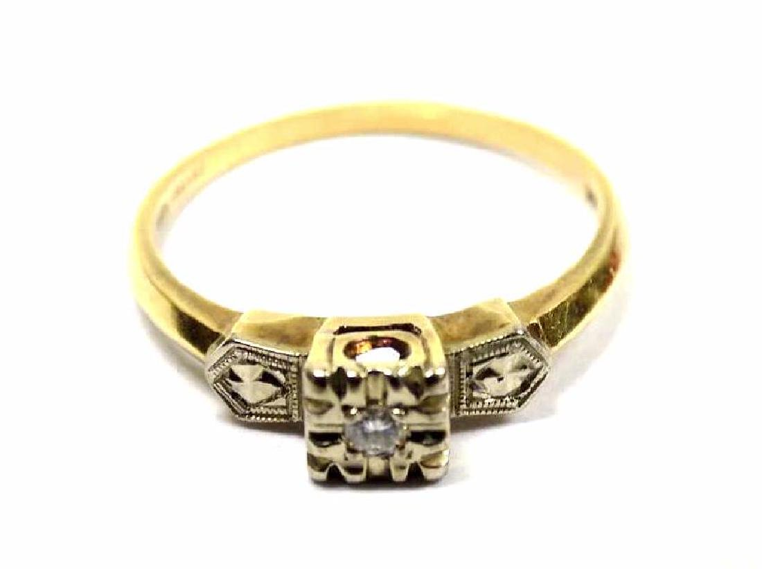 14K YELLOW GOLD & DIAMOND ART DECO RING
