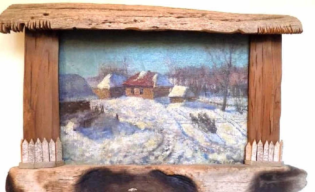 RUSSIAN SCHOOL WINTER HORSE CARRIAGE PAINTING