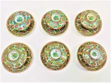 CHINESE EXPORT ROSE MEDALLION LIDDED CUPS SAUCERS SET