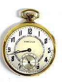 HAMILTON GOLD MODEL 912 17 JEWEL POCKET WATCH