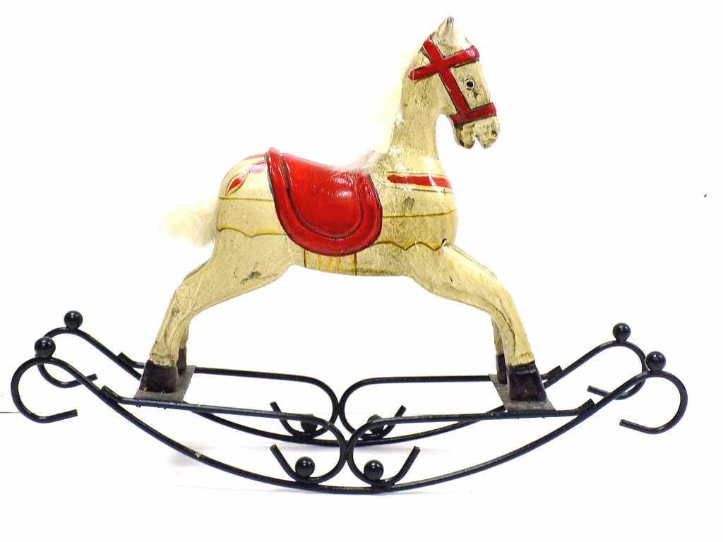 FOLK ART CARVED WOODEN TOY ROCKING HORSE