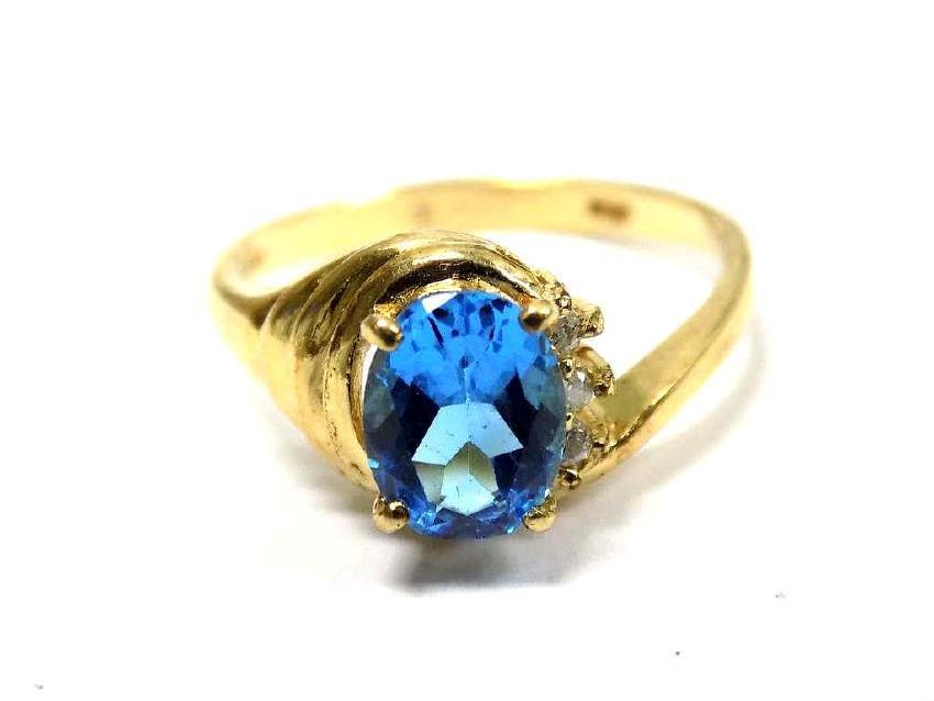 ART NOUVEAU 14K GOLD BLUE SAPPHIRE DIAMOND RING
