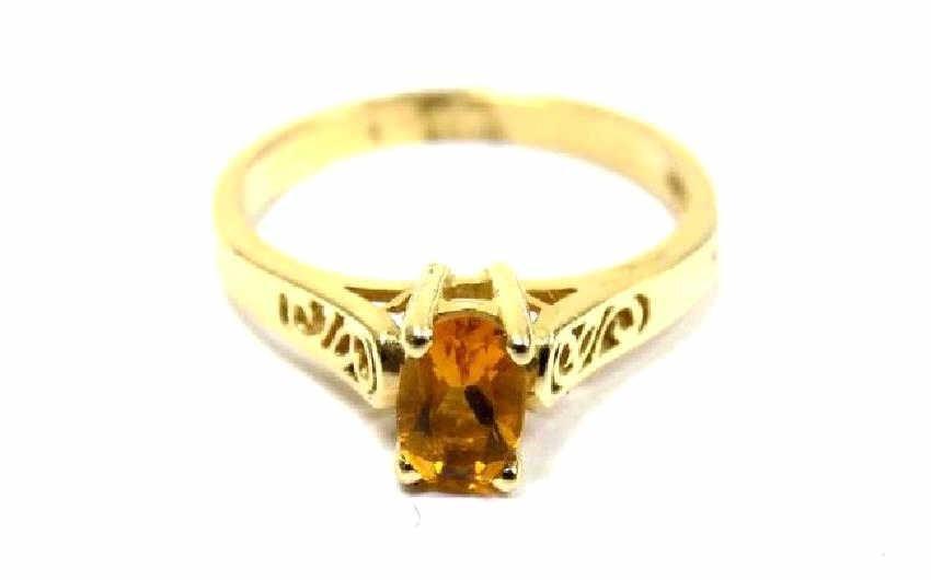 ART NOUVEAU 14K YELLOW GOLD CITRINE RING