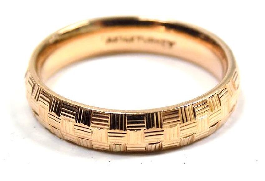 STYLISH 14K SOLID ROSE GOLD CHECKERED RING