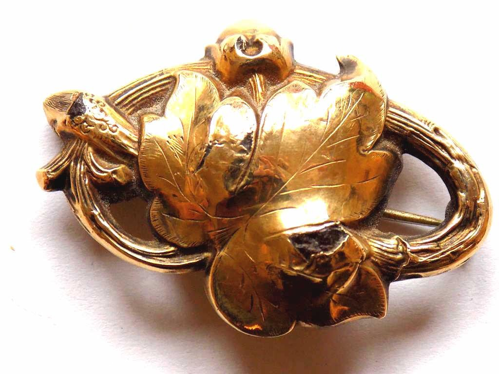 EARLY EB SIGNED FLORAL 14K BROOCH PIN