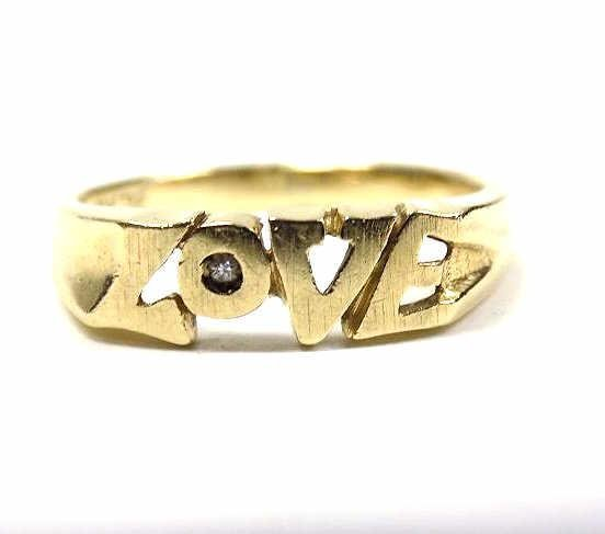 14K YELLOW GOLD & DIAMOND LOVE RING