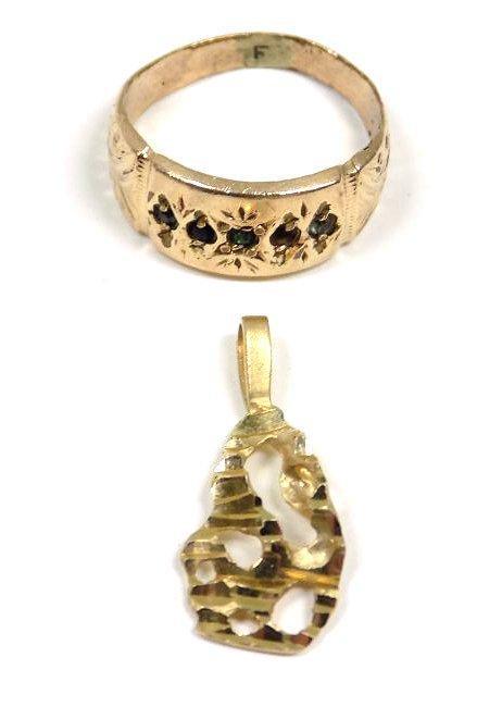 VICTORIAN GOLD GEM RING & 14K GOLD NUGGET PENDANT