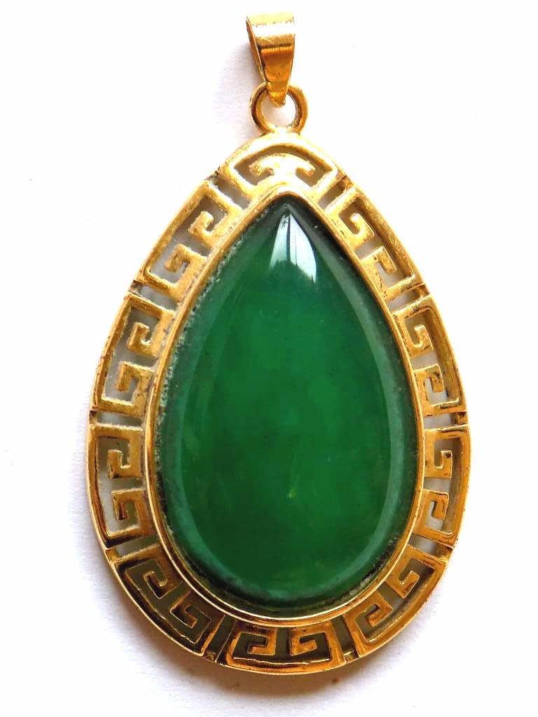 CHINESE GOLD VERMEIL JADEITE GREEN PENDANT