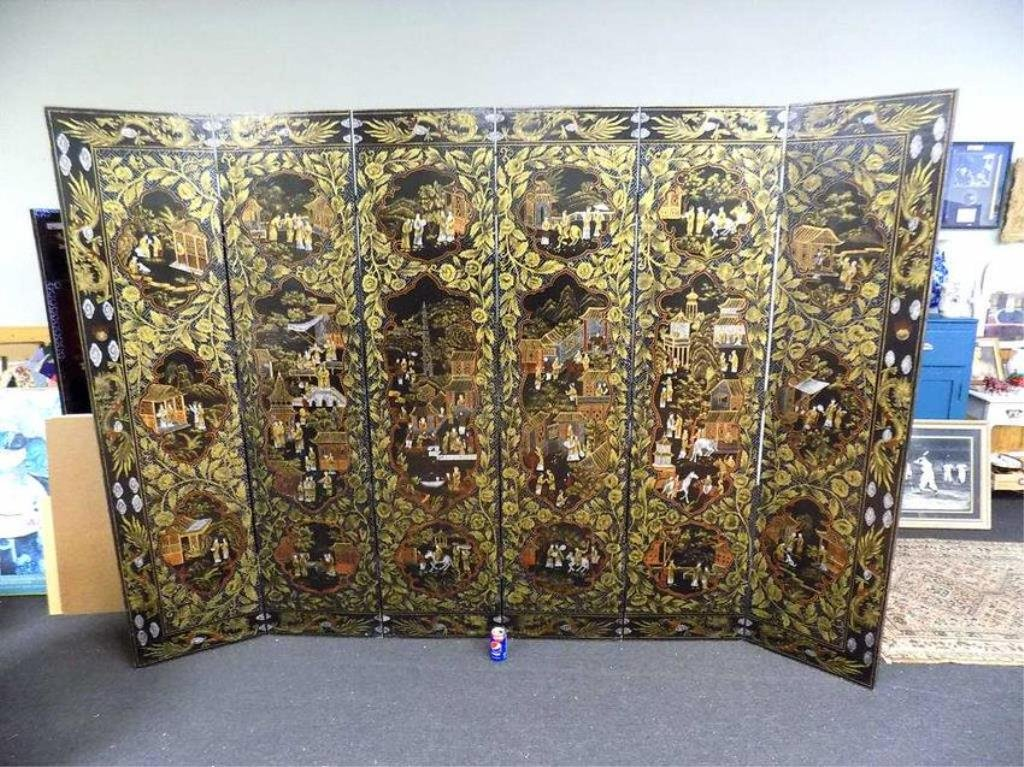 SUPERB CHINESE LACQUERED PAINTED 6 PANEL SCREEN