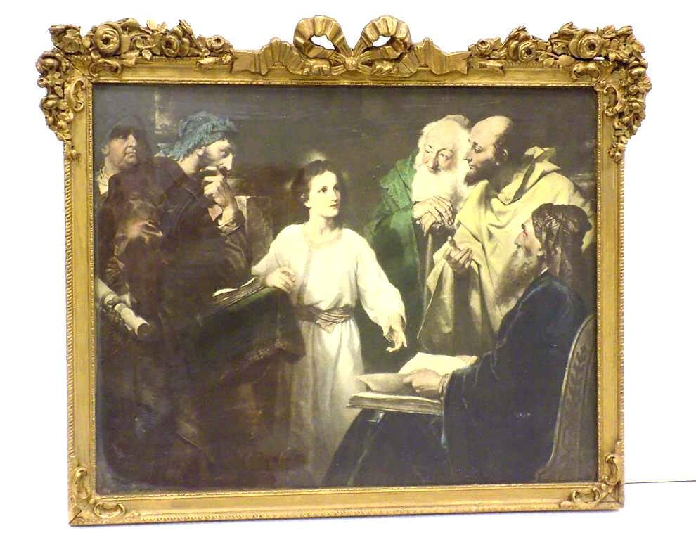 JESUS AND HIS APOSTLES 19TH CENTURY FRAMED LITHOGRAPH
