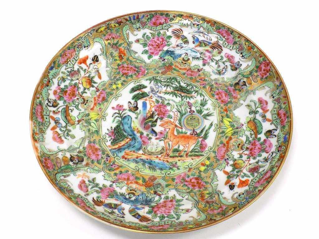 19TH CENTURY CHINESE ROSE MEDALLION SCENIC DISH