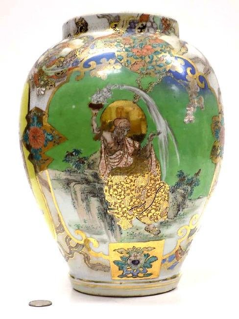 BIG JAPANESE SATSUMA SCENIC IMMORTAL VASE