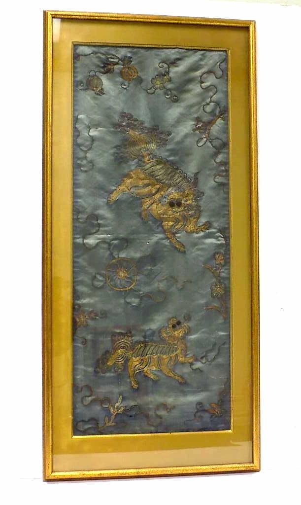 QING CHINESE DRAGON SILKWORK EMBROIDERY