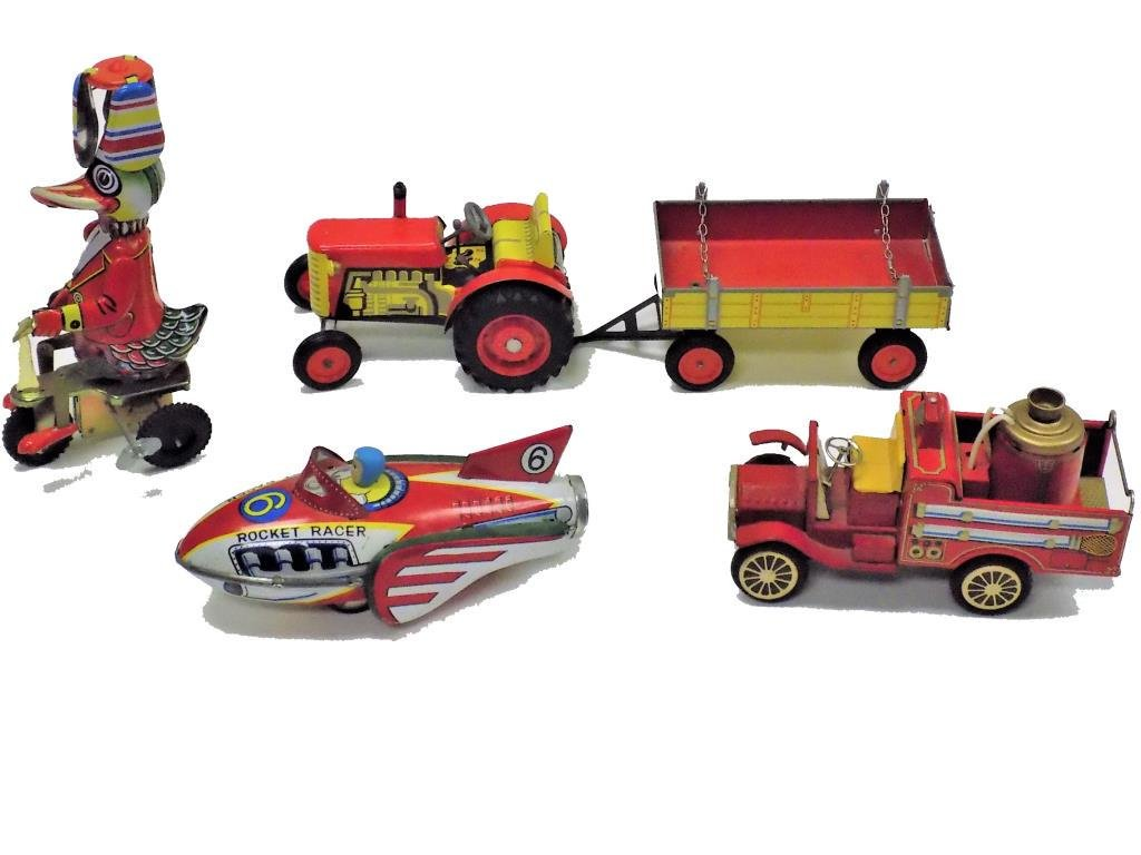 FIRE TRUCK TRACTOR WIND UP TIN TOY & OTHERS