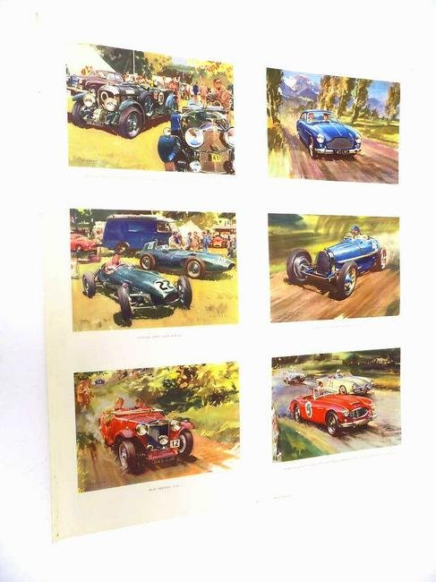 1958 SPORTS RACE CARS COLOR LITHOGRAPH POSTER