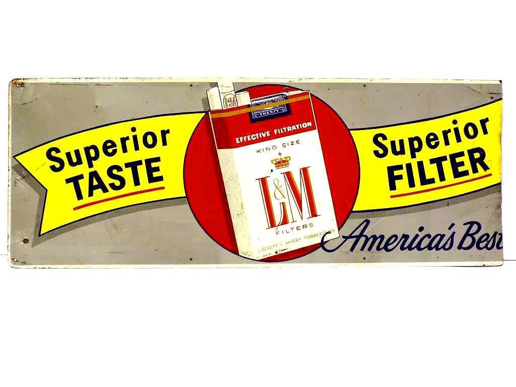 L&M CIGARETTES TOBACCO ADVERTISING METAL SIGN