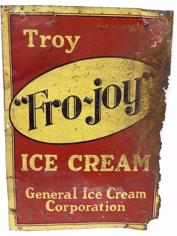FRO JOY ICE CREAM TROY NY ADVERTISING SIGN