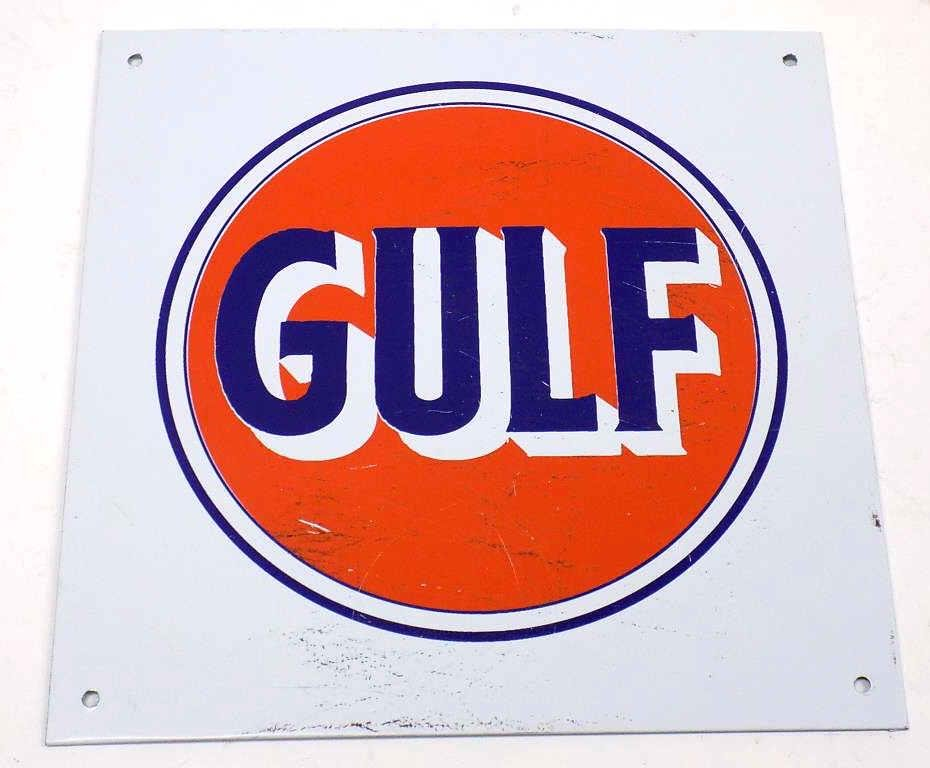 GULF GAS STATION METAL ADVERTISING SIGN