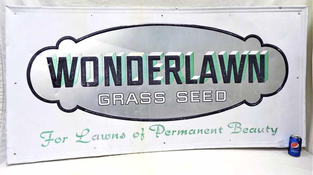HUGE WONDERLAWN GRASS SEED ADVERTISING METAL SIGN