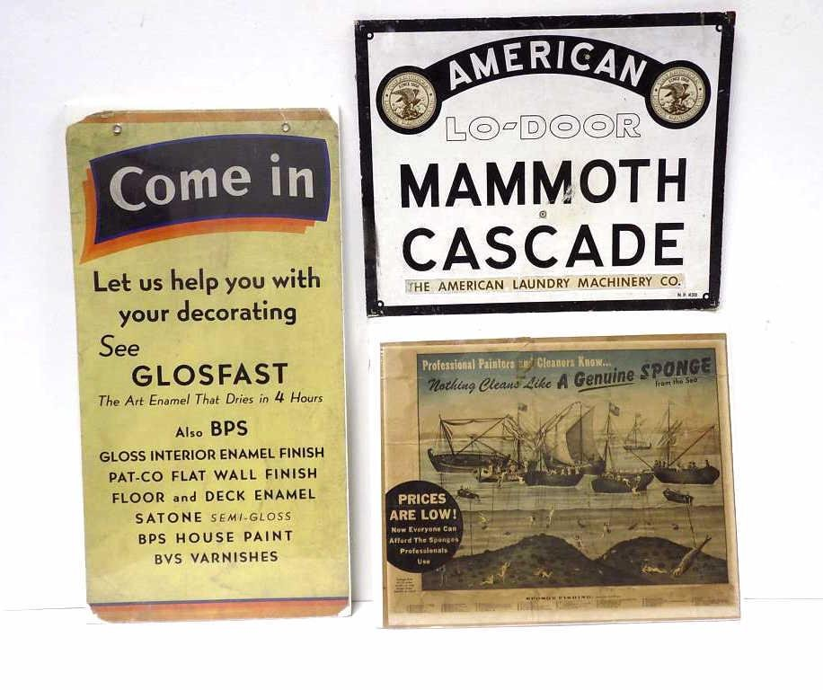 VARIOUS ANTIQUE ADVERTISING SIGNS LOT