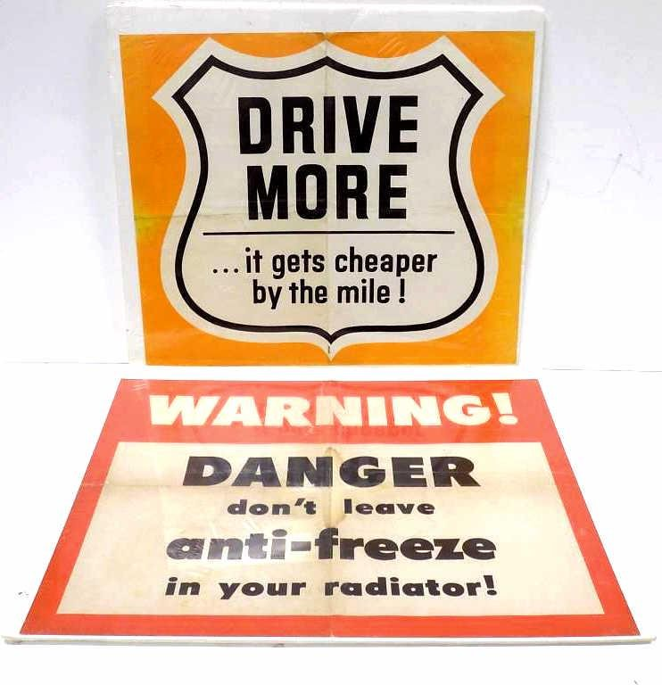 ANTIQUE GASOLINE SERVICE STATION ADVERTISING SIGNS