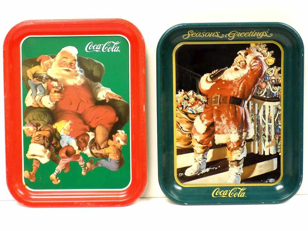 COCA COLA SANTA CLAUS ADVERTISING TRAYS - SUNDBLOM