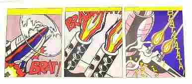 LICHTENSTEIN AS I OPENED FIRE TRIPTYCH LITHOGRAPHS