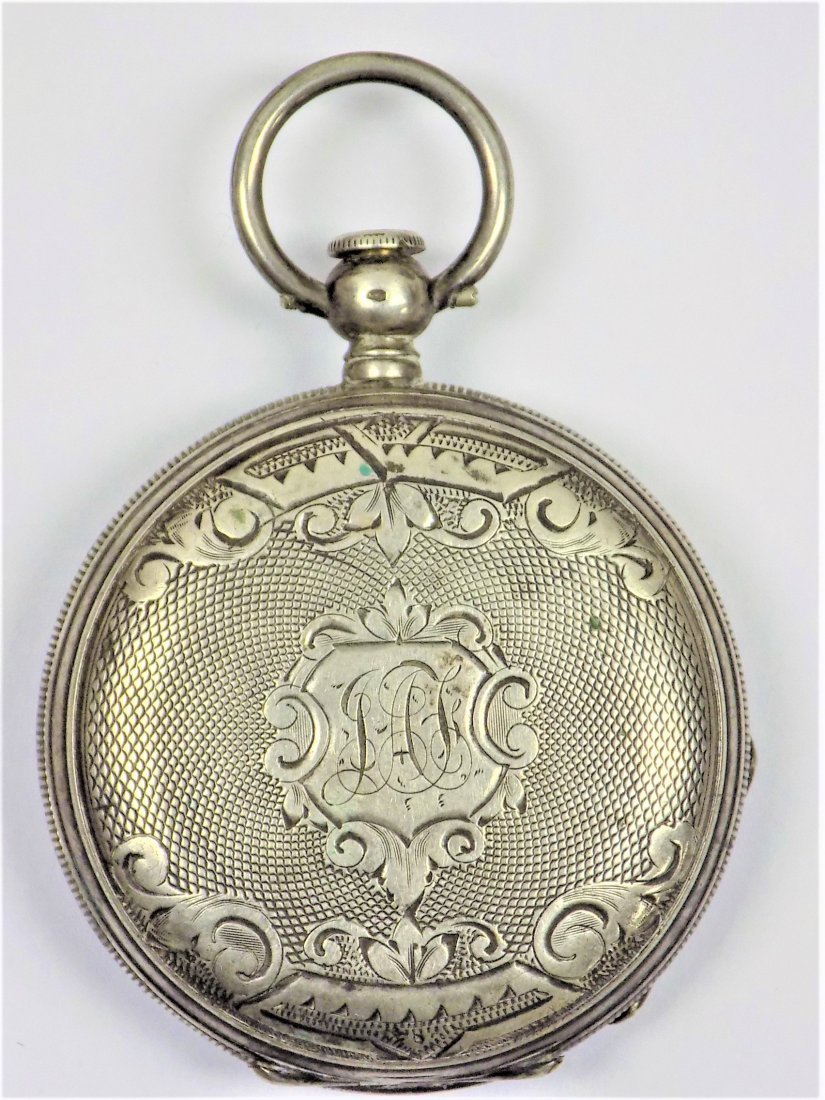 G. JUVET GENEVA ENGRAVED SILVER POCKET WATCH
