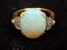 14K GOLD BIG FIRE OPAL  DIAMOND RING