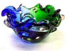 MIDCENTURY MODERN ART BLUE GREEN GLASS VASE