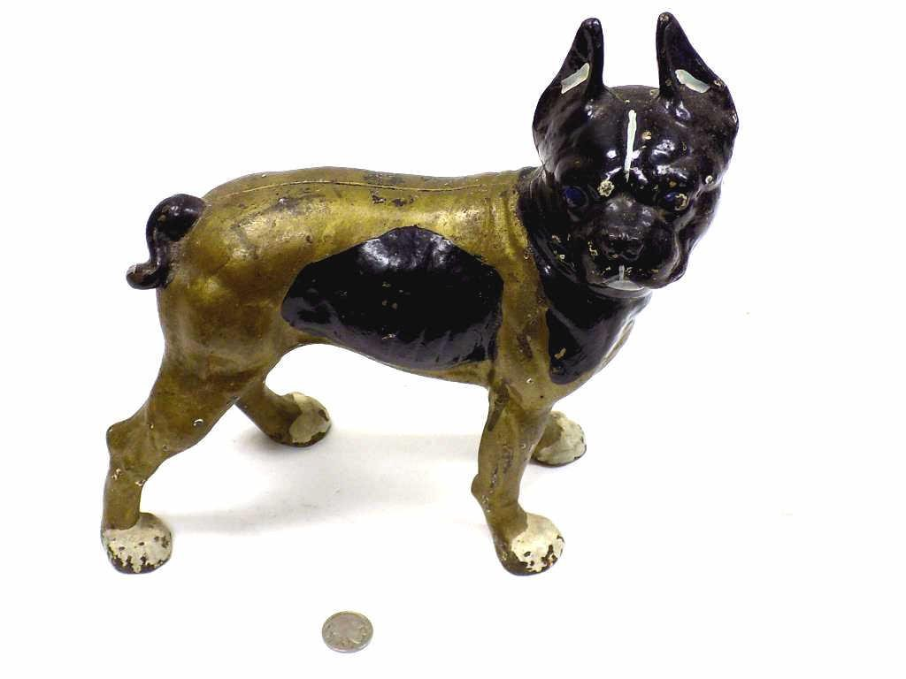 HUBLEY COLD PAINTED CAST IRON BOSTON TERRIER DOG