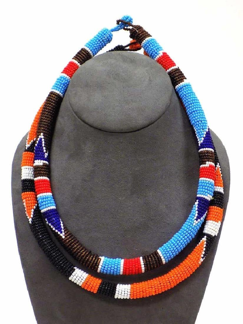 PAIR AFRICAN ZULU ARTISAN MADE BEADED NECKLACES
