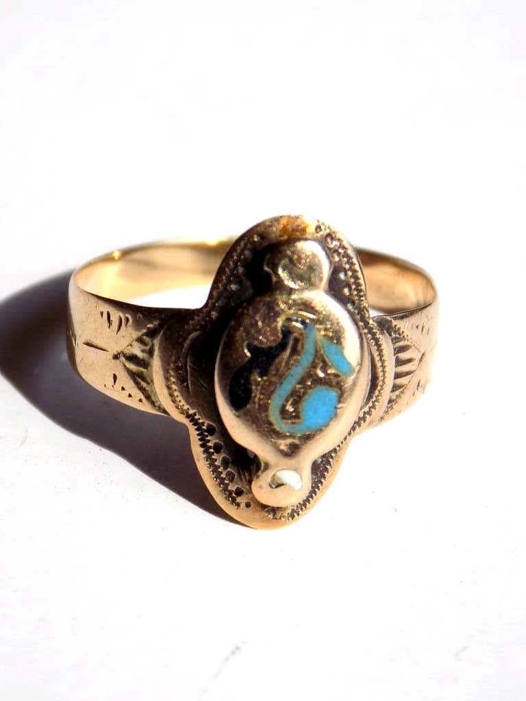 EGYPTIAN 14K GOLD & TURQUOISE RING
