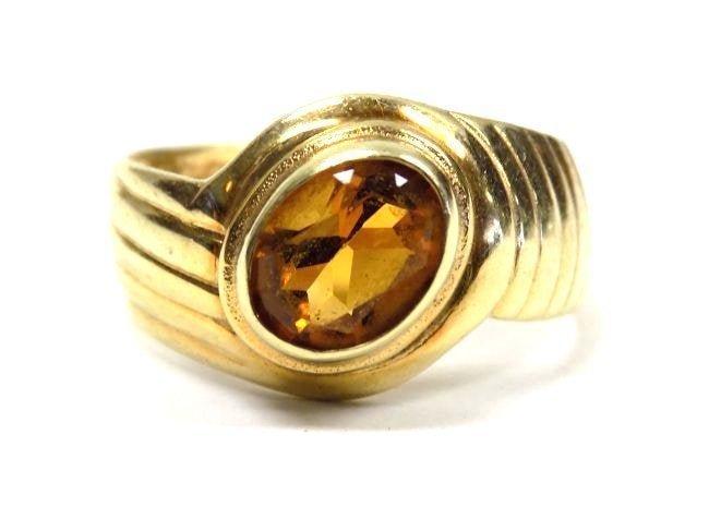 MODERNIST SOLID 14K YELLOW GOLD & BIG CITRINE RING