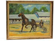 IMPRESSIONIST HORSE AND JOCKEY PAINTING